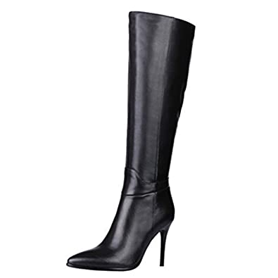 MERUMOTE Women s Genuine Leather Pointed Toe Zipper Stiletto Fashion Dress  Party Knee High Boots Black 6 1204707674