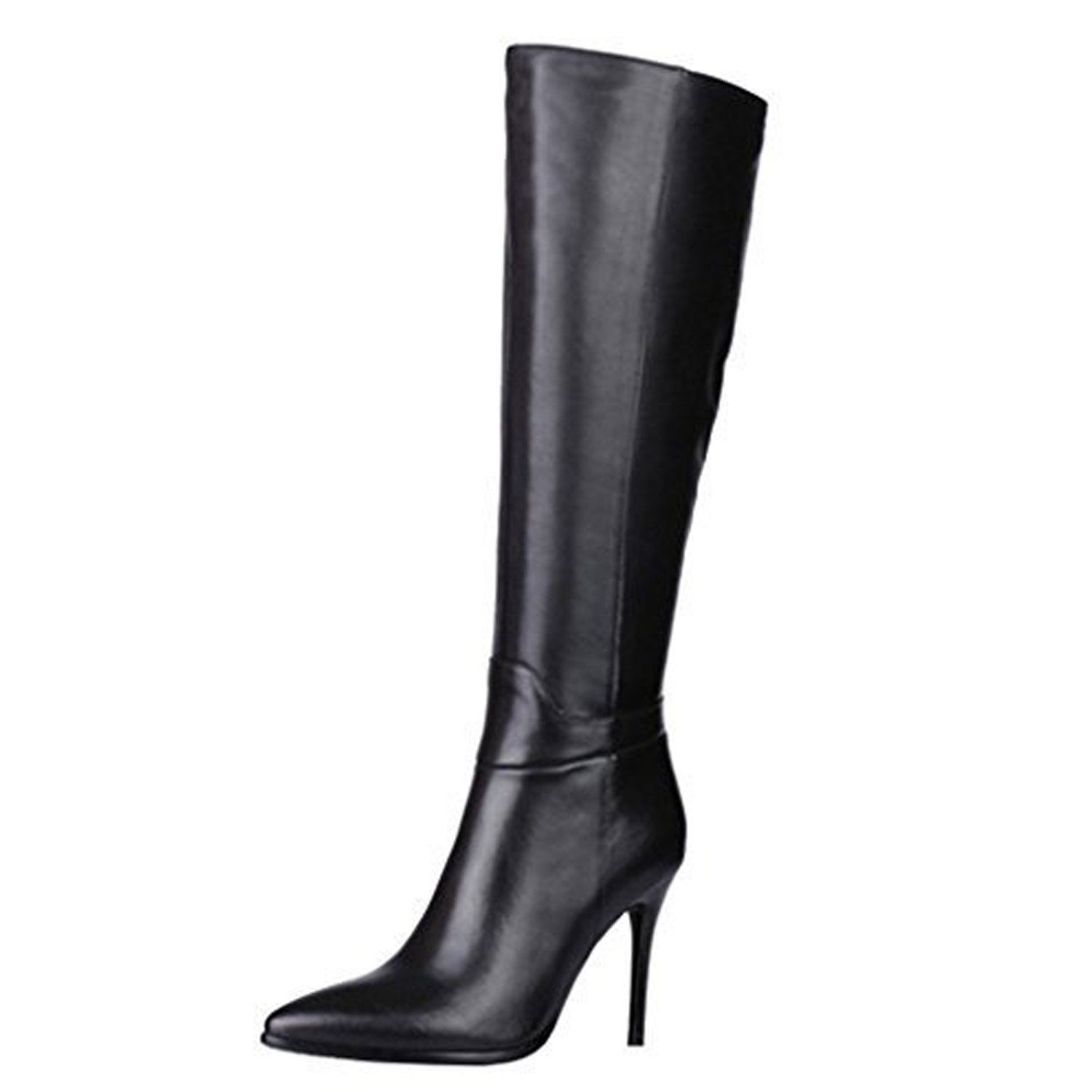 VOCOSI Women's Black Leather Over The Knee Boots Pointy Toe Side-Zip High Heels Dress Boots Black 7 US