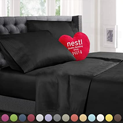 Queen Size Bed Sheets Set Black, Highest Quality Bedding Sheets Set On  Amazon, 4