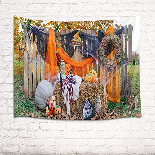 HVEST Halloween Party Pumpkin Tapestry Tattered Spider Web Outdoor Costume Party Wood Fence Grass Background Wall Hanging for Room Halloween Themed Decor 60Wx40H inches]()
