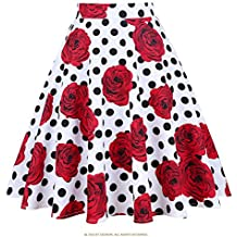 Dapengzhu New Fashion Black Skirt Women High Waist Plus Size Floral Print Polka Dot Ladies Summer Skirts 50s Vintage Skirt