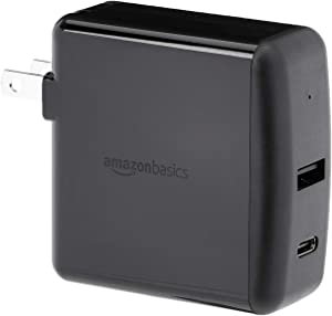 AmazonBasics 2-Port Wall Charger (51W) for Tablets and Phones, with 1 USB-A Port and 1 USB-C Port with 30W Power Delivery - Black
