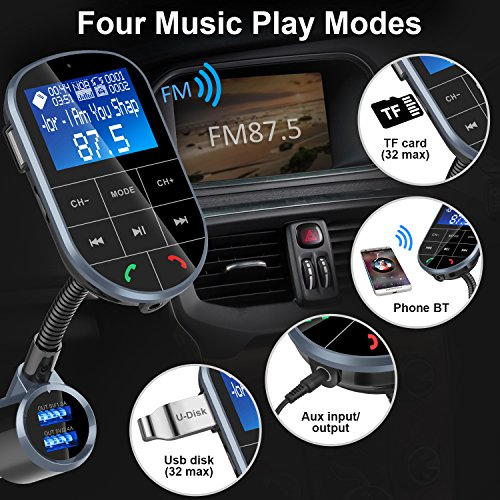 Bluetooth FM Transmitter for Car, Frienda Wireless Radio Adapter Car Kit with Hand-Free Calling, 5V/3.4A Dual USB Ports, On Off Button, A2DP Aux Input/Output TF Card and USB MP3 Player by Frienda (Image #4)