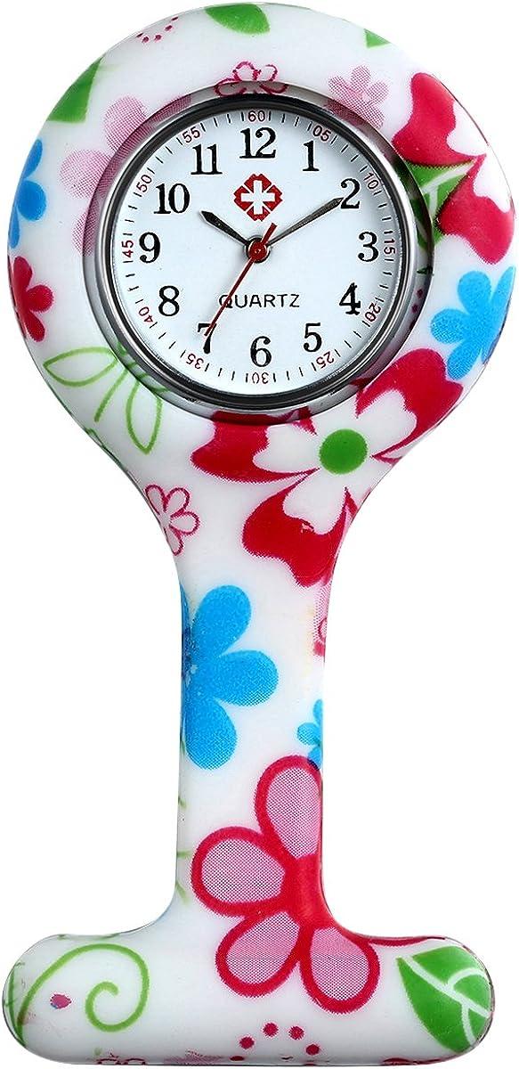 Lancardo Reloj de Bolsillo Silicona Reloj Médico Doctor Enfermera Paramédico Prendedor de Broche Uniforme Dibujos Multicolor Dial Desmontable Movimiento de Cuarzo
