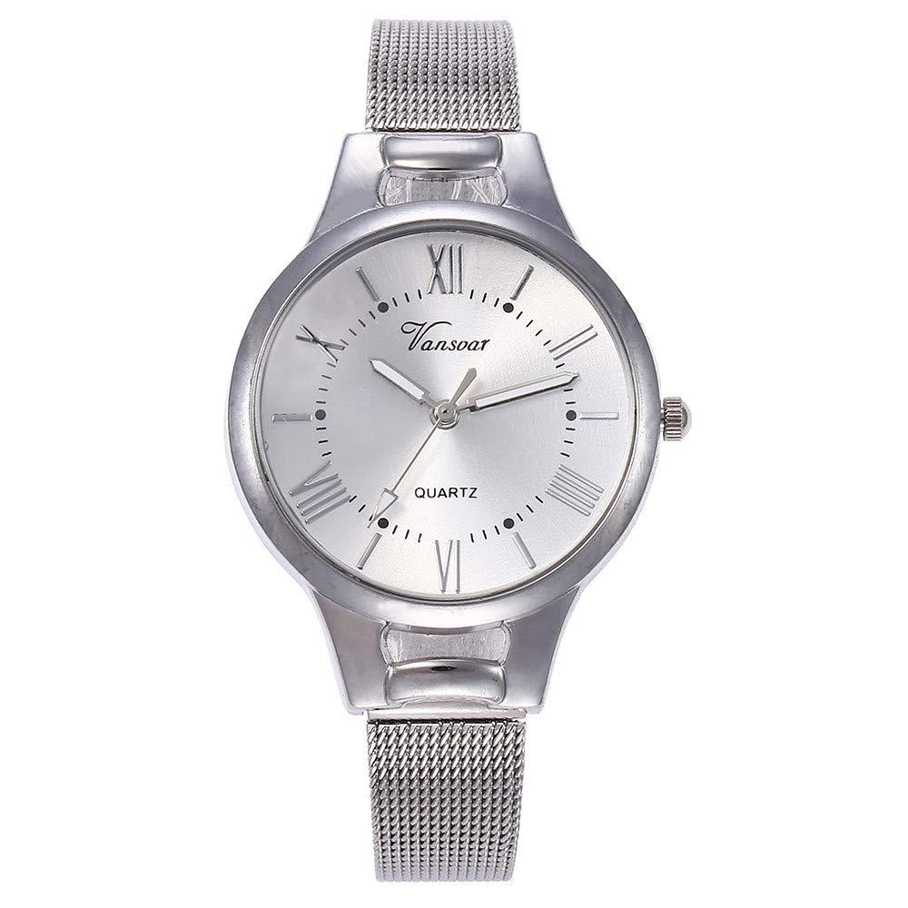 レディースクォーツ腕時計 Fuduleアナログ腕時計 レディースローズゴールドウォッチ ステンレススチールバンド レディースドレスウォッチ クリアランス シルバー B07LCLPFYP シルバー