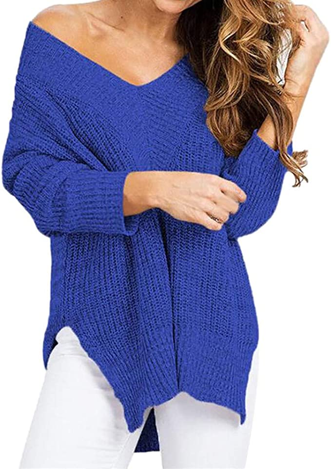 Maglione Donna,Zolimx Manica Lunga Maglioni Donna Casual Morbido Elegante Maglietta Ragazza Magliette Lunga Camicetta Elegante Loose Divertenti Vintage,Maglie T-Shirt