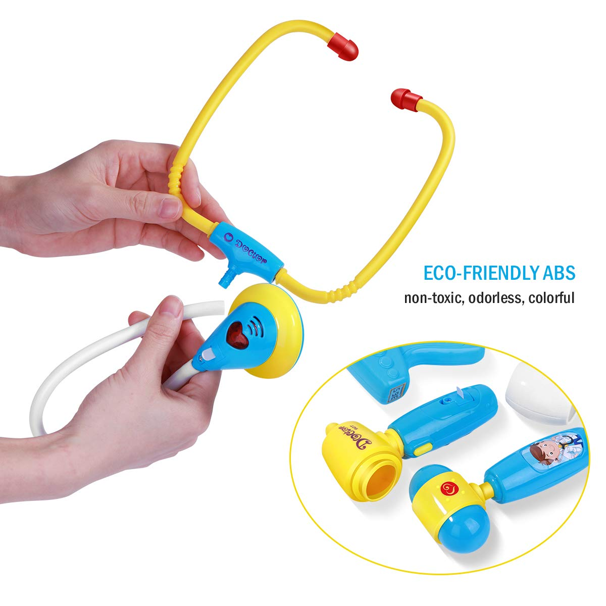iBaseToy Doctor Kit for Kids, 27Pcs Pretend Medical Doctor Medical Playset with Electronic Stethoscope, Medical Kits Gift, Educational Doctor Toys for Toddler Boys Girls (Blue) by iBaseToy (Image #4)