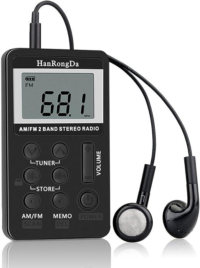 Sangmei HRD-103 AM FM Rádio Digital 2 Bandas Receptor Estéreo Rádio Portátil de Bolso c/Fones de Ouvido Tela LCD Cordão de Bateria Recarregável CV# por Sangmei