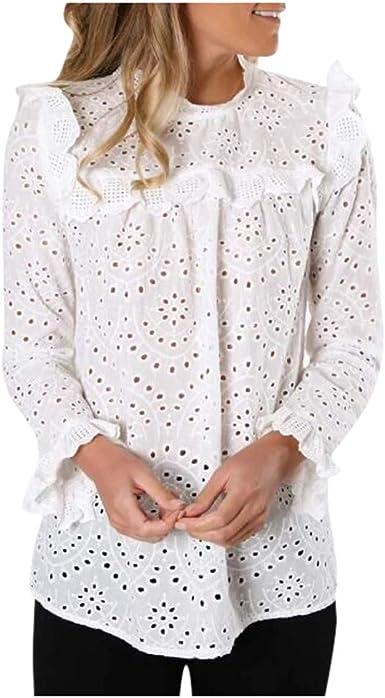TOPKEAL Blusa Elegante de Manga Larga Ahuecada de Moda para Mujer Camisa Blanca de Encaje Calado para Jovencita: Amazon.es: Ropa y accesorios