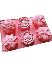 6 moldes de flores de silicona para magdalenas, jabón hecho a mano, galletas,