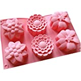 Allforhome (TM) 6 Flowers Silicone Bakeware Muffin Cups Handmade Soap Molds Cupcake Mold Cake Baking Pans Bakeware Polymer Resin Clay Jelly Soap DIY Molds Soap Making Mould Handmade Soap Molds