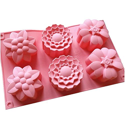 Allforhome 6 Flowers Silicone Bakeware Muffin Cups Handmade Soap Molds Cupcake Mold Cake Baking Pans Bakeware
