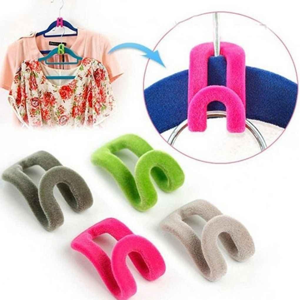 Lot Mini Beflockung Kleiderb/ügel einfache Haken Closet Organizer Kleiderb/ügel Farbe Random InisIE 10Pcs