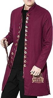 Fieer Mens Chinese Style Slim Casual Linen Blend Zipper Overcoat