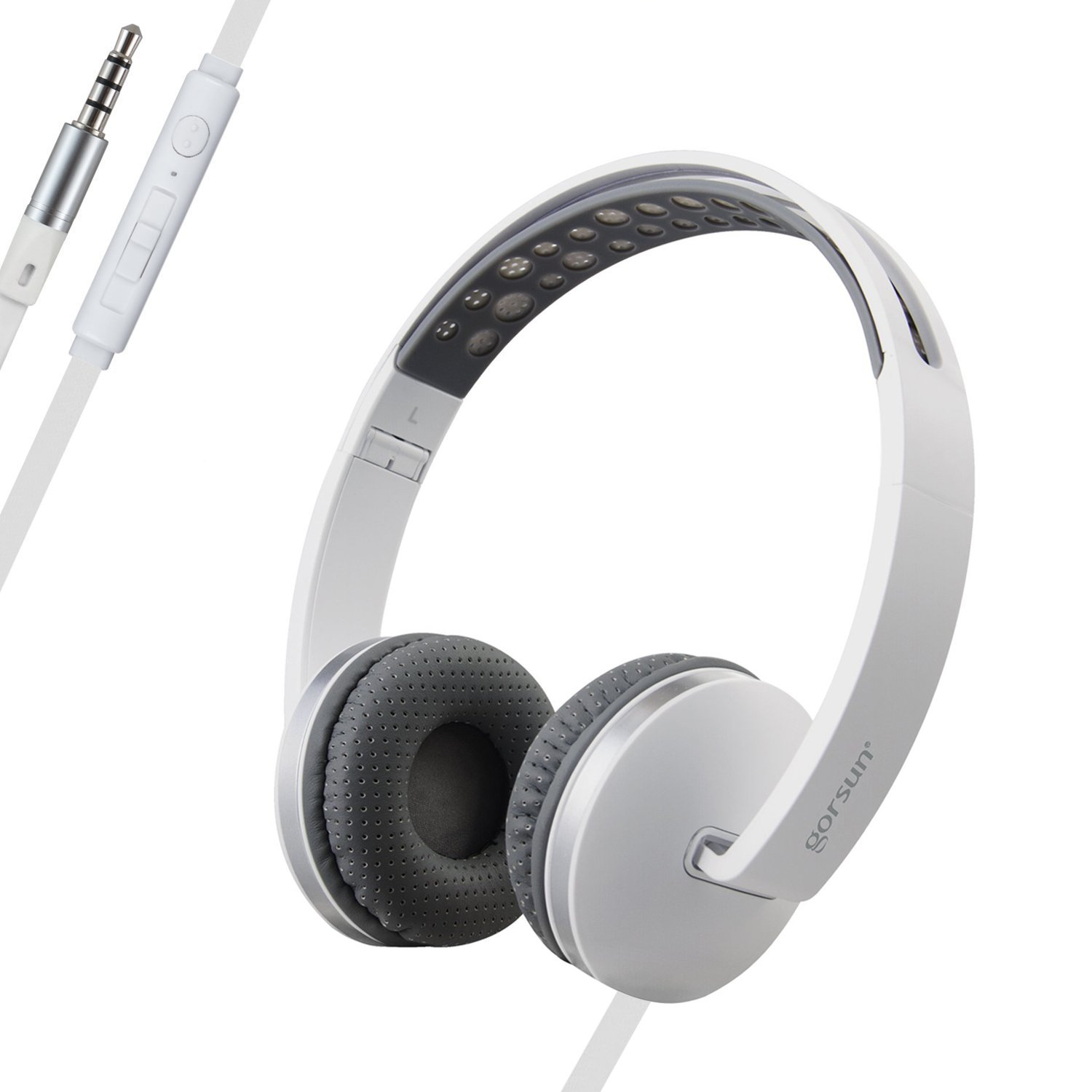 ONTA gorsun Sport Lightweight Foldable On-Ear Headphones Adjustable Headsets with Mic and volume control 3.5mm for kids Iphone Laptop Computer Mp3/4 Earphones (white)