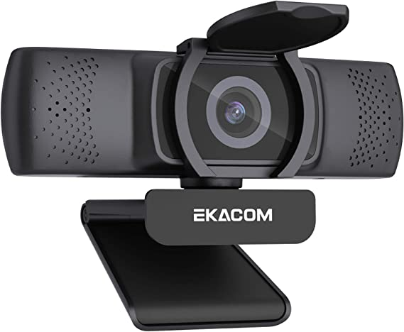 Webcam con Micrófono Estéreo, EKACOM 1080P Full HD Cámara Web USB2.0 con Cubierta de Privacidad para Video Chat/Estudios/Juegos/Grabación, Plug y Play PC Web Cam, Compatible con Windows, Mac y Android