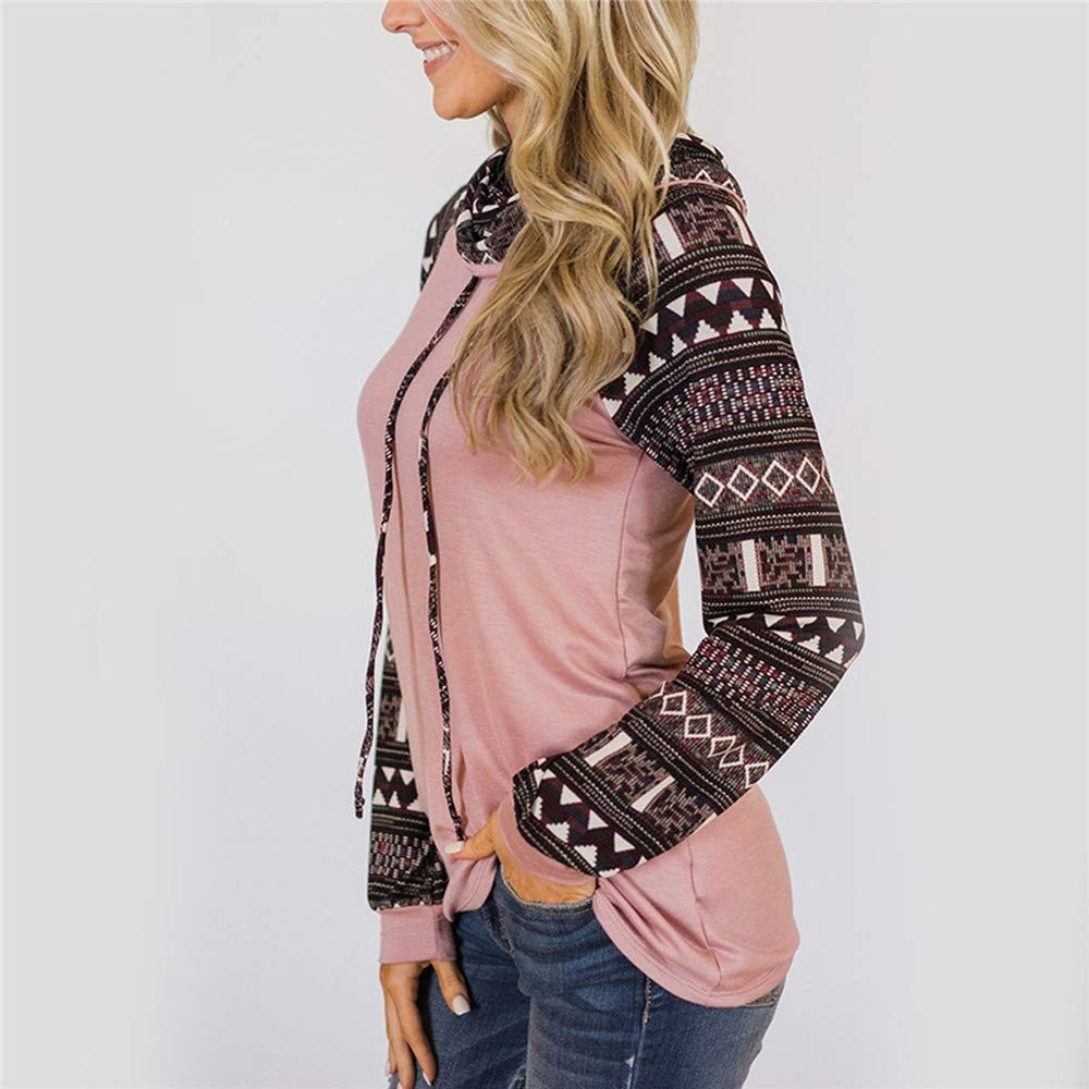 Pullover Sweatshirt Female Tracksuit Turtleneck Tops Splice Print Tunic Long Sleeve Pullover Sweatshirt,Pink,S,United States