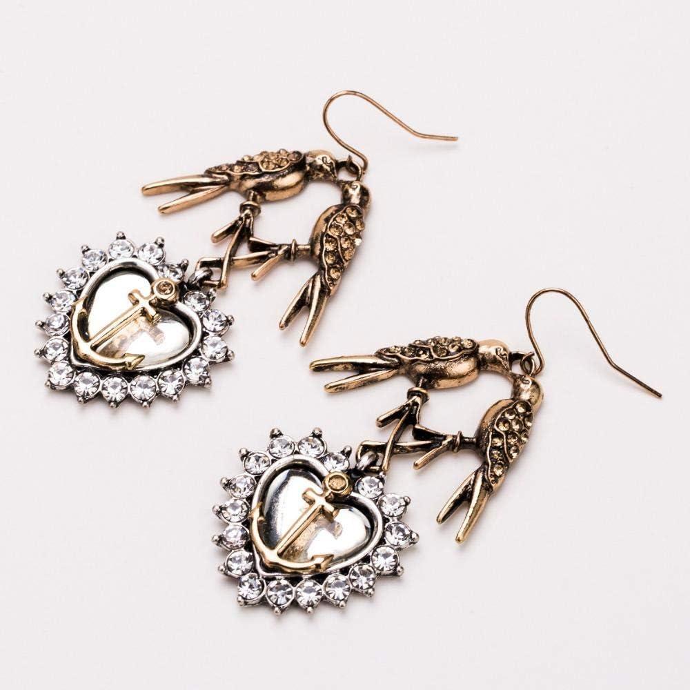 Boucles DOreilles Fantaisie Belle Oiseau Vintage En Alliage Avec Coeur Pendantes Boucles DOreilles Pendantes Pour Femmes Accessoires De Bijoux De Mode