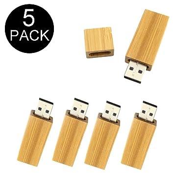 Amazon.com: 5 unidades de memoria USB rectangular de madera ...