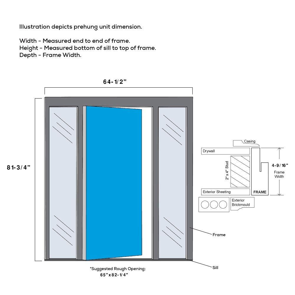 National Door Company Z021529L 3//4 Lite 2-Panel Roman Decorative Glass Steel Primed 36x80 Left Hand in-Swing Prehung Front Door with 12 Sidelites