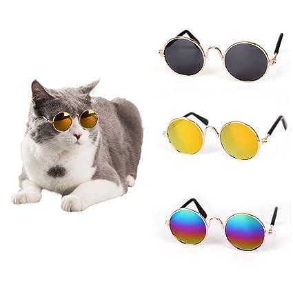 AOLVO Gafas de Sol Divertidas para Mascotas, Gafas de Sol clásicas de Metal Circulares para