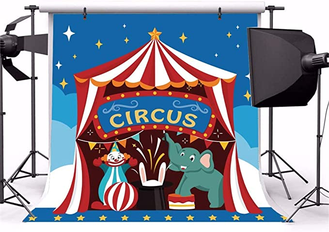 Cartoon Red White Stripes Circus Tent Roof Castles Backdrop 10x7ft Vinyl Red Stage Curtain Door Blue Sky Photography Background Kids Baby Portrait Shoot Birthday Party Banner Cake Smash