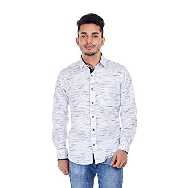38f4f65019 Evoq White Printed Casual Shirt With Contrasting Collar Band And Inner  Button Placket