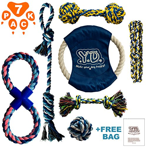Dog Rope Toys for Aggressive Chewers - Indestructible Dog Toy Set of 7 - Durable Dog Chew Toys - Dog Rope Toy Set for Small to Large Breed Dogs and Puppy - Rope Dog Toy for Training Tug-of-War Playing (Rope Playing)