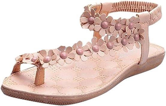 Btruely Sandalen Damen Sommer Mode Böhmen Sandalen Damen Flach Sandalen Mädchen Schuhe Flip Flops Blume Strandschuhe