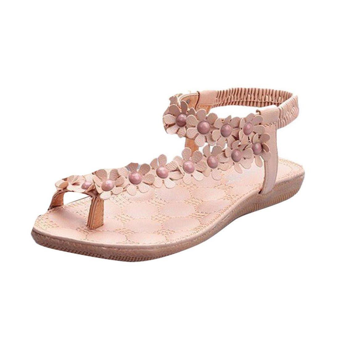 Btruely Sandalen Damen Sommer Mode Bouml;hmen Sandalen Damen Flach Sandalen Mauml;dchen Schuhe Flip Flops Blume Strandschuhe  38|Wei? 1
