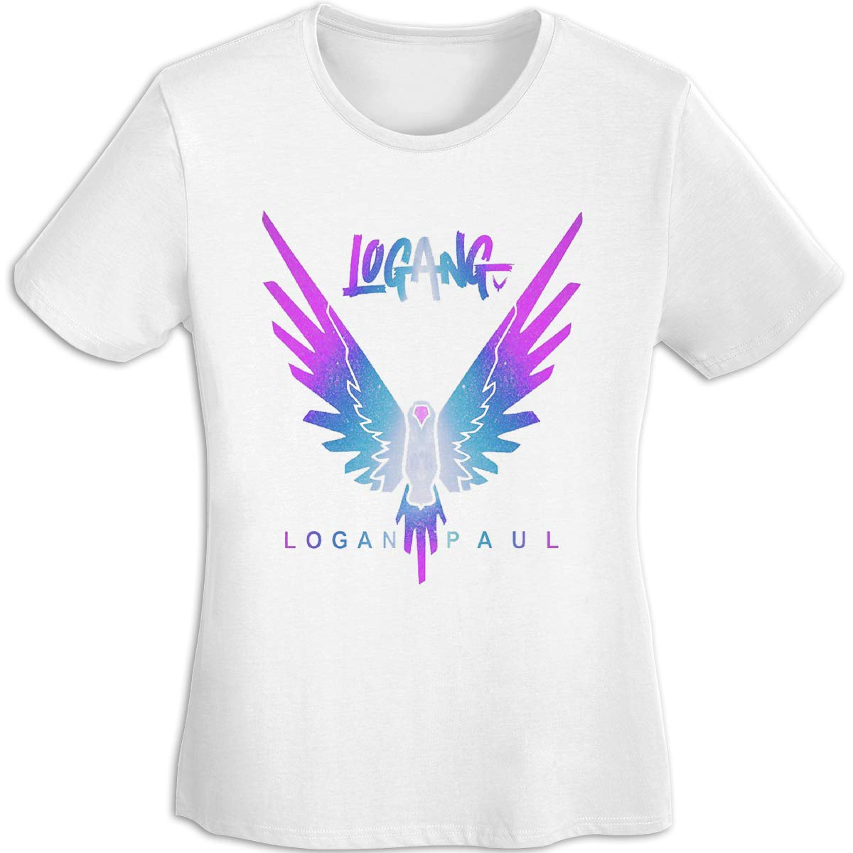 Women's T Shirt Jake Paul Logang Logan Paul Maverick Tee Shirts T-Shirt Short-Sleeve Round Neck Tshirt for Womens Girls White S by BKashy