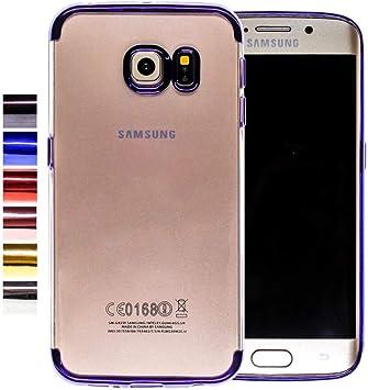 COOVY® Funda para Samsung Galaxy S6 Edge SM-G925F SM-G925 Ligera de silicio TPU, Ultrafina, Transparente con Bordes de Aspecto Cromado | Color Azul: Amazon.es: Electrónica