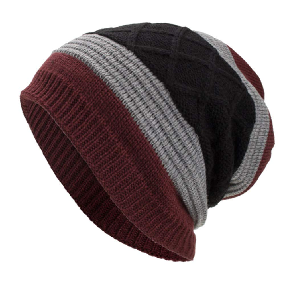 Amazon.com  Unisex Women Mens Fashion Stripe Winter Warm Knitting Hats Wool  Baggy Slouchy Beanie Hat Skull Cap  Health   Personal Care 26d99296ccf0
