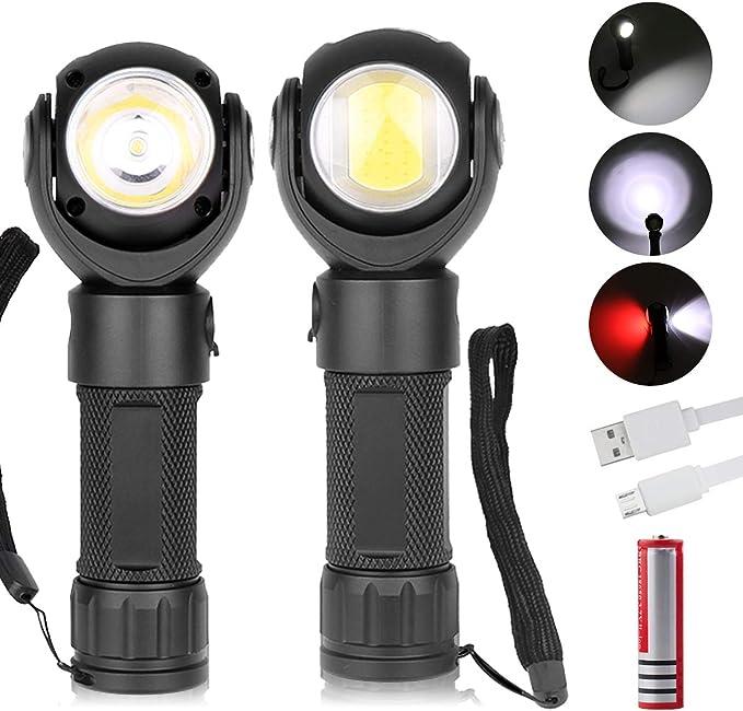 Magnetic COB LED Flashlight Torch Work Light Folding Lamp USB Rechargeable Lamp