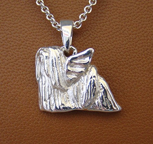 - Sterling Silver Lhasa Apso Angel Pendant