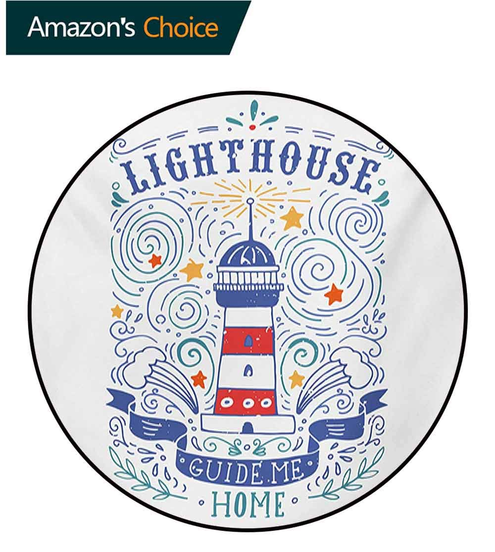 RUGSMAT Lighthouse Machine Washable Round Bath Mat,Vintage Hand-Drawn Lighthouse Print Typography Stars Waves Branches Lettering Non-Slip No-Shedding Bedroom Soft Floor Mat,Round-55 Inch by RUGSMAT (Image #3)