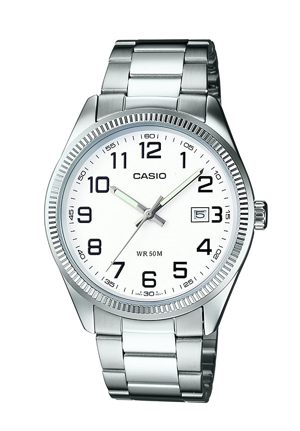 casio menu0027s collection analogue quartz watch with stainless steel bracelet amazoncouk watches