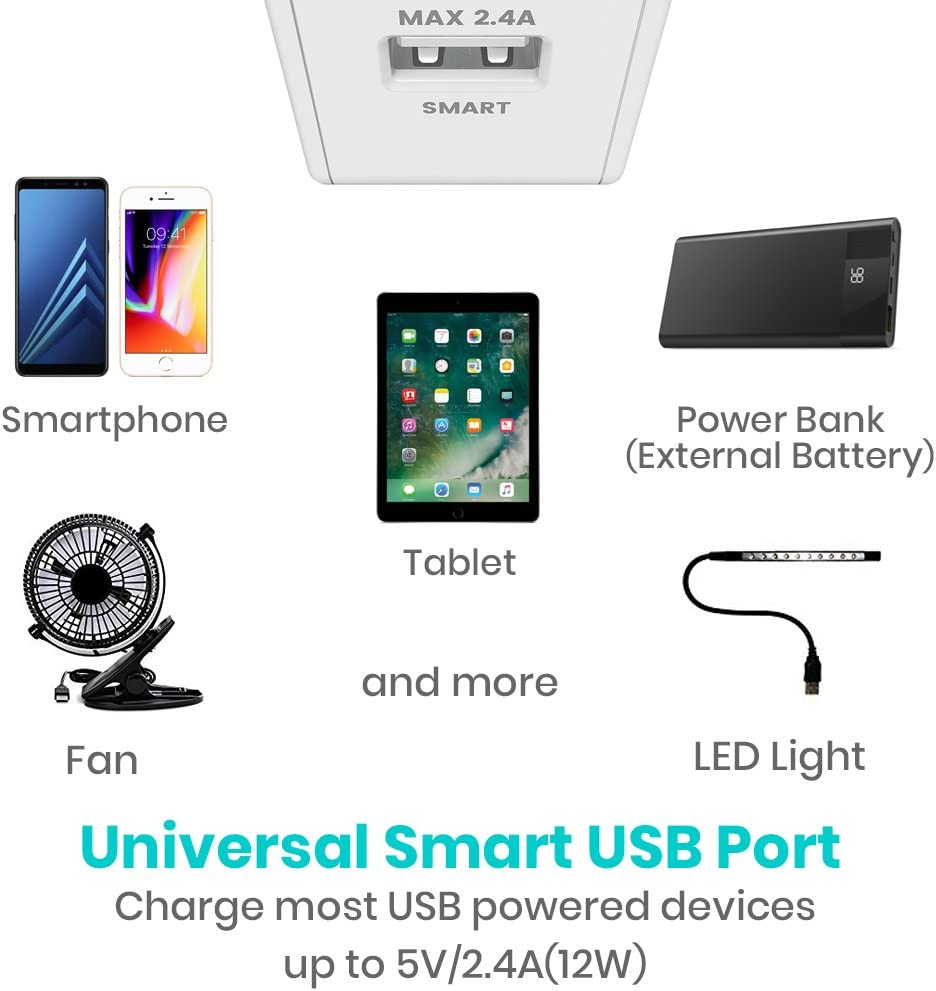 Klearlook USB Wall Charger Dual Port 2.4A Output Fast Charger Compatible with iPhone X//8//XS//XS Max//XR iPad Samsung and More Phone Charger