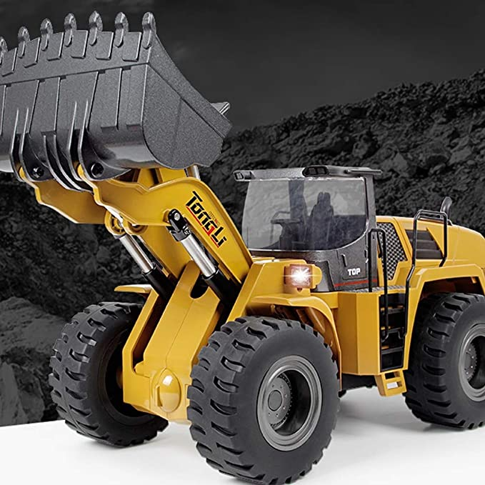HUIGE Canal de Todo-aleación Mando a Distancia de la Carretilla elevadora de tracción a Cuatro Ruedas, RC Control Remoto construcción Digger Tractor para ...