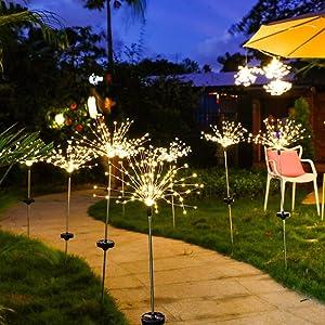 Solar Garden Lights Outdoor 2 Packs 120 LED Firework Lights Solar Garden Decor Lights Copper Wire String Fairy Lights DIY Color Light for Walkway Patio Lawn Backyard Christmas Party Decor (Yellow)