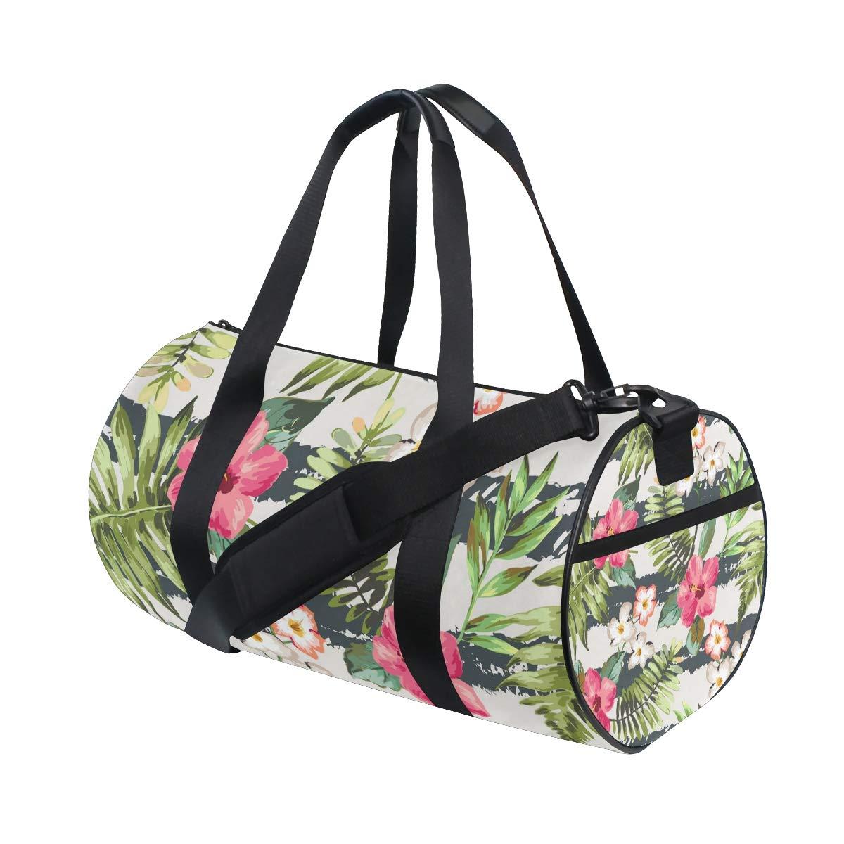 Tropical Plant Sports Gym Bag Travel Duffel Bag with Pockets Luggage & Travel Gear Shoulder Strap Fitness Bag
