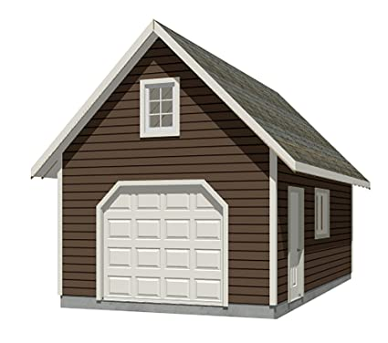 Amazon Com Garage Plans Traditional Style 1 Car Garage With Attic