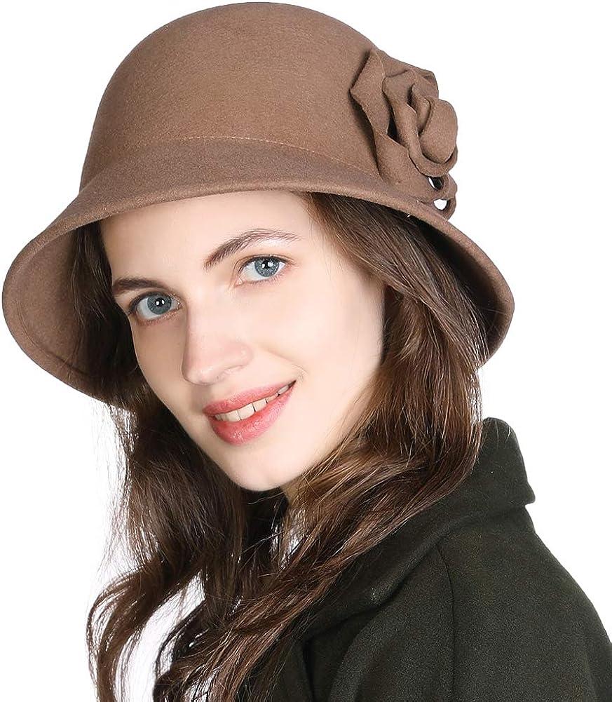 FANCET - Sombrero para Mujer, 100% Fieltro de Lana, Estilo Fedora, Estilo Boina de los años 20, cálido, para Invierno, Estilo Newsboy Cabbie 00790_Camel M