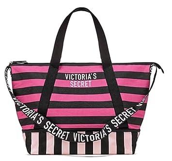 6dc7d6ee86e270 Amazon.com | Victoria's Secret Expandable Weekender Tote Bag, Pink/Black  Stripe | Travel Totes