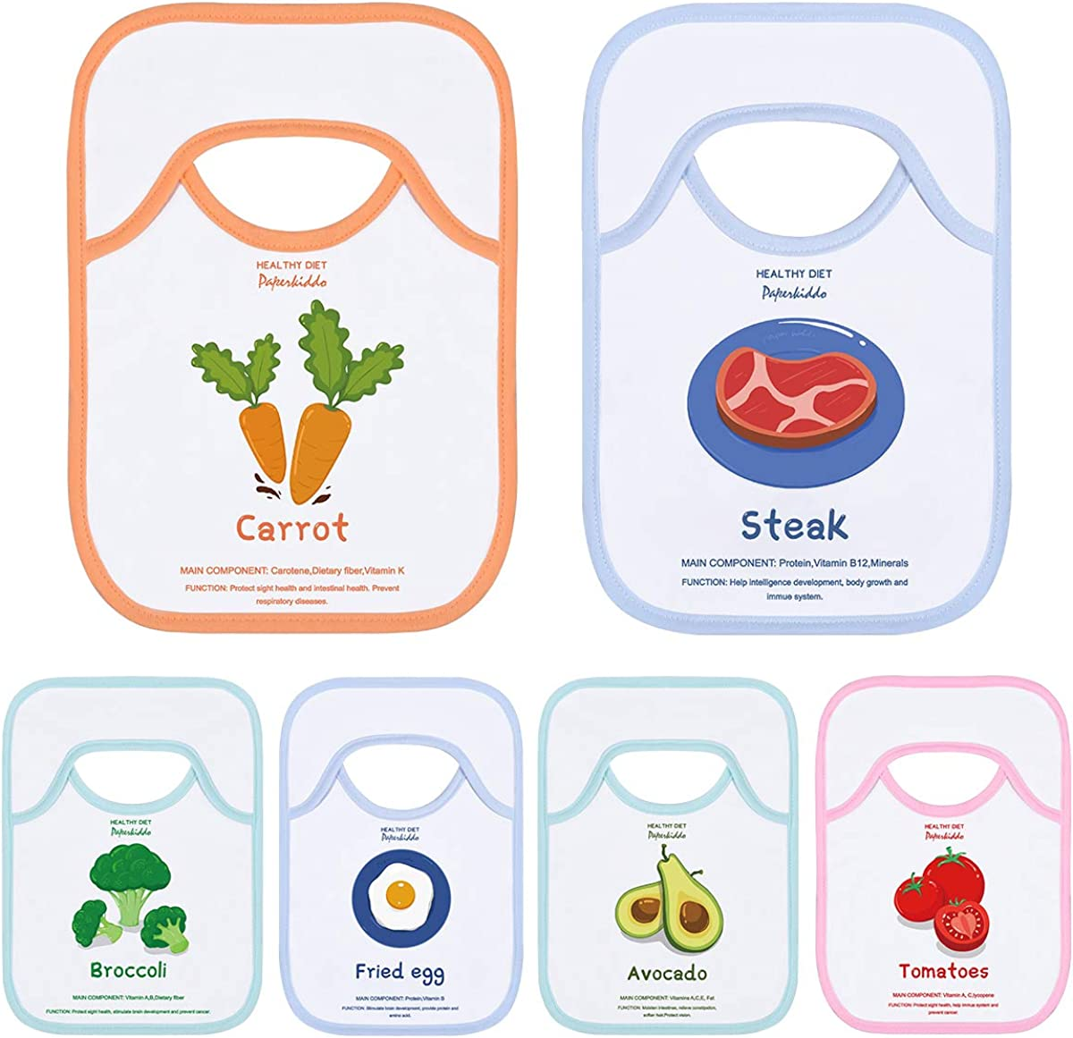 PAPERKIDDO Baby Bibs, 6 Pack Food Learning Baby Weaning Saliva Towel Super Absorbent Washable Cotton Lap-Shoulder Drool Cloths Soft Feeding Bibs Set for 6-24 Months Infant Toddler 12.2 x 9 inch