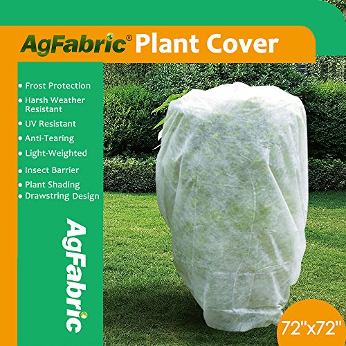 """Agfabric Plant Cover Warm Worth Frost Blanket – 1.5 oz Fabric of 72""""Hx72""""W Shrub Jacket, Rectangle Plant Cover for Season Extension&Frost Protection"""