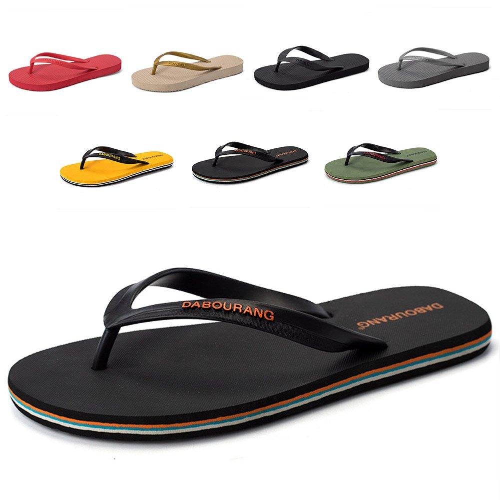 FiveStoresCity Men's Women's Sandals Beach Flip Flops Comfortable House Slippers Shoes for Home Shower Casual Walking (Men 8 D(M) US=42 EU, Black)
