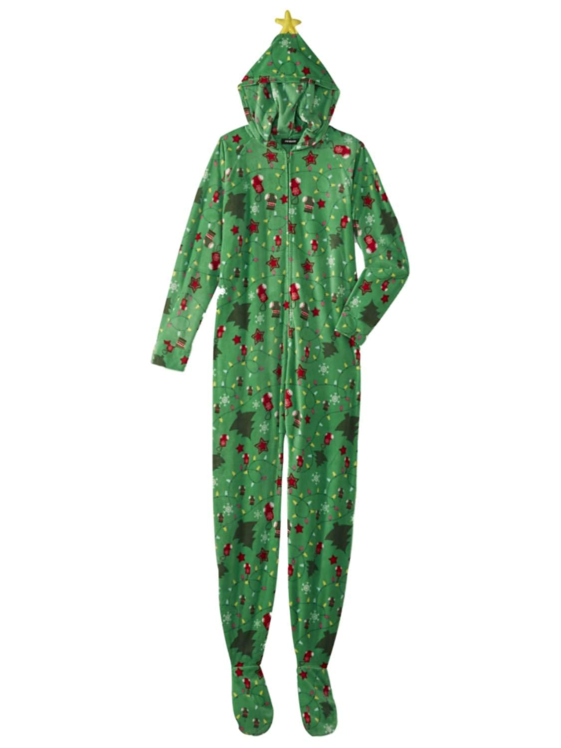 91dabe3bee Joe Boxer Womens Green Christmas Tree Blanket Sleeper Holiday Pajama Hooded  Union Suit at Amazon Women s Clothing store