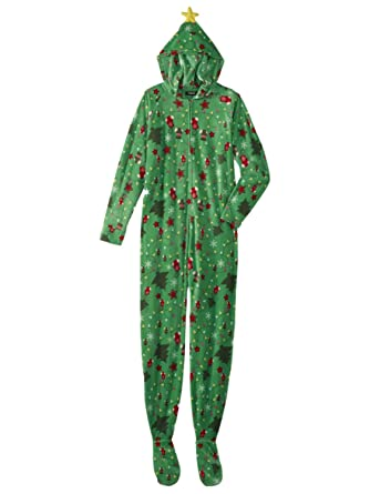 f796346d07 Joe Boxer Womens Green Christmas Tree Blanket Sleeper Holiday Pajama Hooded  Union Suit M