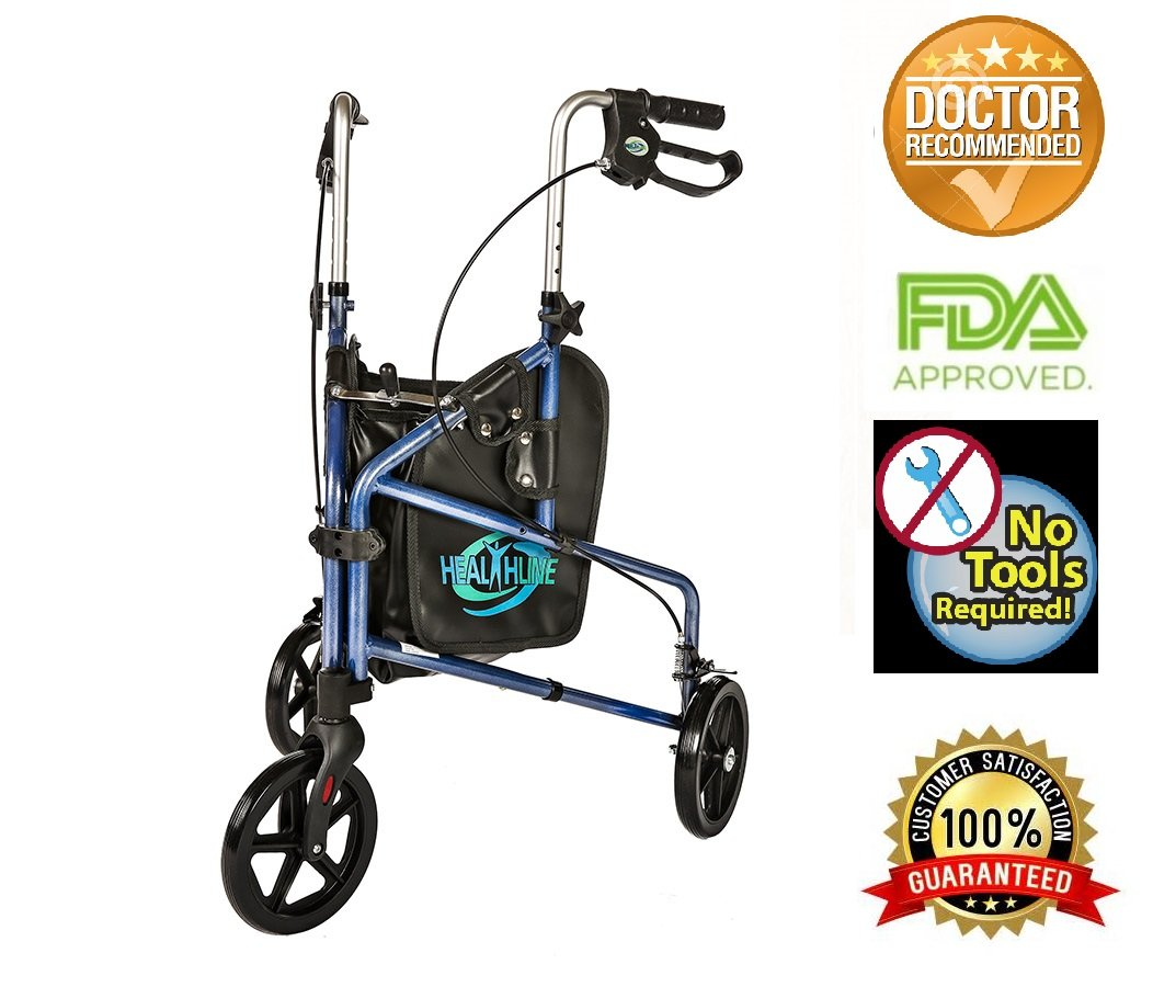 3 Wheel Rollator W/handle Brakes and Pouch Blue
